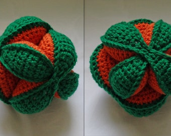 Crochet Puzzle ball toy, Amish puzzle ball, green orange pumpkin carrot