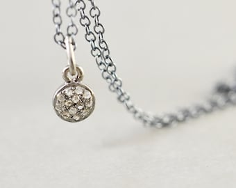 Diamond Disc Oxidized Sterling Necklace, Genuine Diamond Necklace, Brides Gift, Minimalistic