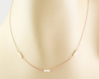 Simple Pearl Necklace, Minimal Necklace, Rose Gold Necklace