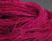 Cerise Pink Pure Wensleydale Hand Dyed Hand Spun Yarn