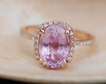 20 percent off - 5ct Oval raspberry peach champagne sapphire in a cushion 14k rose gold diamond ring engagement ring.