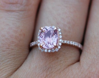 Pink Sapphire ring 14k rose gold diamond  Engagement Ring 2.03ct Square Cushion Peach Pink Champagne sapphire