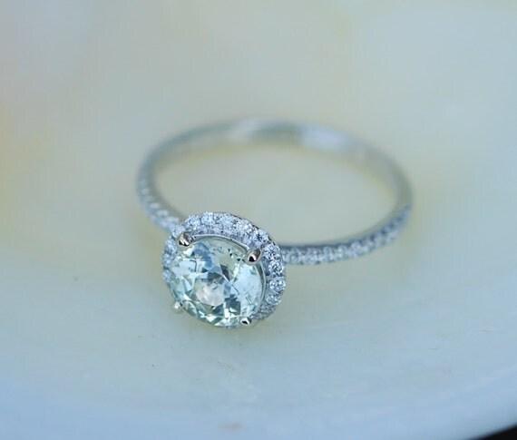 Jasmine sapphire ring 1.28ct unheated sapphire halo diamond ring 14k white gold engagement ring