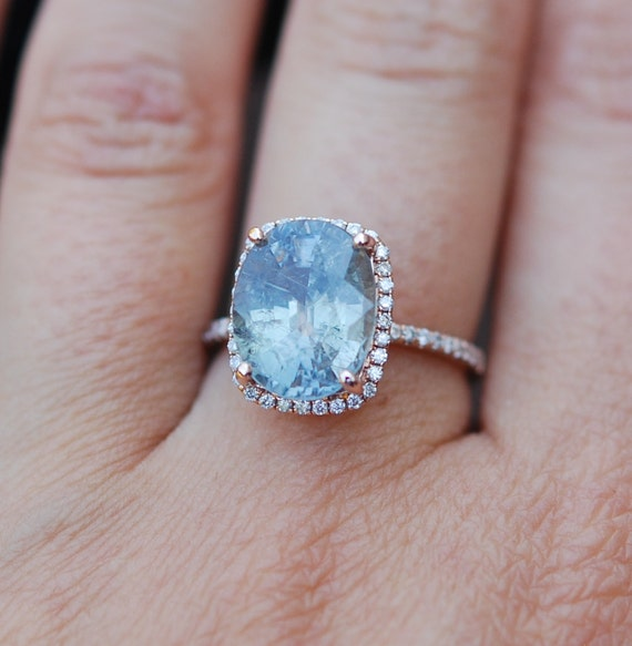 Rose Gold Engagement Ring 6 2ct Teal Blue Green by EidelPrecious
