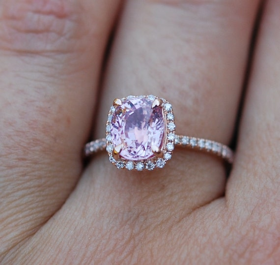 Pink Sapphire ring 14k rose gold diamond Engagement Ring 2.03ct Square  Cushion Peach Pink Champagne