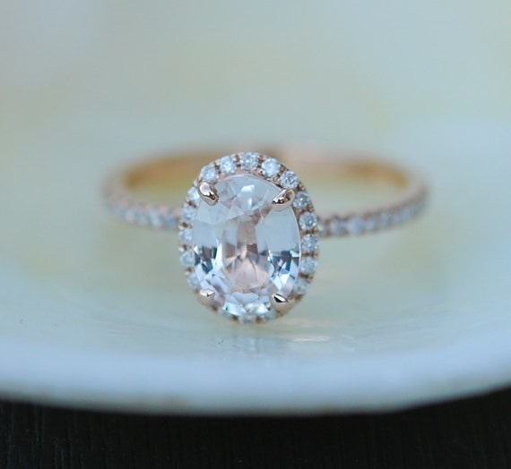 white sapphire ring gold engagement ring 1 54ct oval 14k