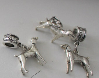 Sterling RETRIEVER DOG Bead Charm for  all Name Brand Add a Bead Bracelets- 3D Heavy
