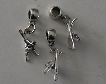 Sterling SNOW SKIS & BOOTS  Bead Charm for all Name Brand Add a Bead Bracelets- 3d