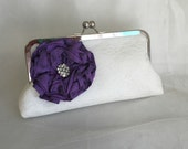 LARGE ROSE  Bridesmaid Bridal clutch ivory  Lace add on photo lining mother of the bride gift purple christmas winter