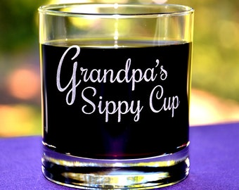 Personalized Engraved Custom Keepsake Wine Glass, Grandpa's Sippy Cup, New Dad, Pop Gift, Papa Gift, Father's Day Gift, Dad's Birthday