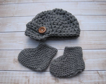 Baby Boy Clothes, Baby Hat and Bootie Set, Baby Boy Hat, Baby Booties, Baby Hat, Newborn Booties, Newborn Boy Hat, Grey Baby Hat, Infant