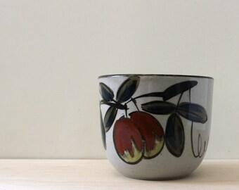 Plums. Vintage Japanese stoneware planter.