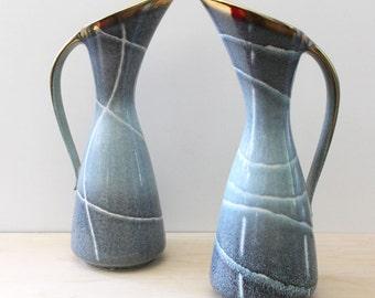 Dumler & Breiden 1960s West German mid-century modern pottery pitchers. 1306 29.