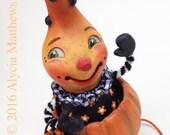Ted's Treat Train – EHAG - Hand sculpted OOAK original paper mâché, Halloween, gourd boy, pumpkin trick treat train, artist Alycia Matthews