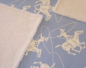 Cowboy Themed Sherpa and Cotton Blanket