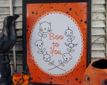 Halloween Boo to you sign digital -  PDF black orange uprint words illustration paper old