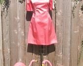 Vintage 1960s Pink Satin Jackio O Mad Men Dress