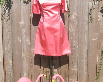 Vintage 1960s Pink Satin Jackio O Mad Men Dress