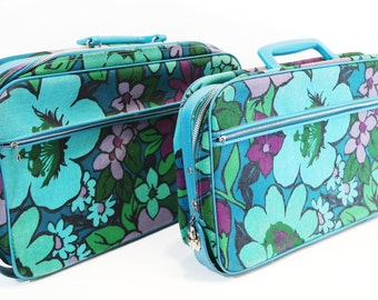 vintage | mod turquoise flower power carry-on suitcase luggage set | set of 2