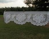 Vintage Lace Curtain White Lace Valance Lace Panel Window Treatment French Country Farmhouse Cottage Chic Prairie White Lace Drape 58 x 17