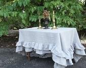 Custom Double Ruffle Linen Tablecloth Ruffled Tablecloth Multi Ruffle Tablecloth Ruffled Linen Tablecloth Wedding Decoration Table Decor