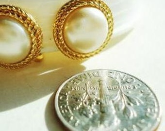 TRIFARI Vintage Pearl Gold Rim Clip On Earrings  -one day SALE April 5, 2016