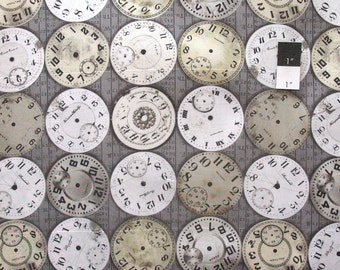 Tim Holtz PWTH003 Eclectic Elements Timepieces Taupe Cotton Fabric By The Yard