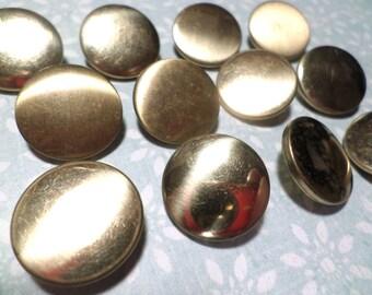 15 Gold Metal Vintage Buttons