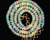 """55% OFF SALE 21"""" Long 50.45 cts 4-5 mm Natural Multi Color Play Ethiopian Welo Fire Opal Smooth Rondelle Beads Necklace NOB61"""
