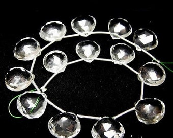 55% OFF SALE 8 Inches -  Gorgeous Natural Rock Crystal Quartz Faceted Heart Briolettes Size 11 - 12mm approx Wholesale Price