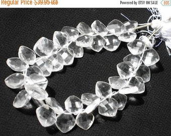 55% OFF SALE 1/2 Strand - Finest quality genuine Rock Crystal Quartz Faceted Cushion Briolette Size 9 - 11mm Approx