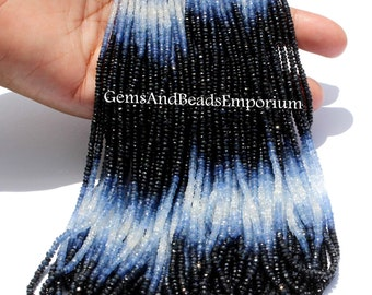 "Full 17 "" Finest Quality Shaded Natural Blue Sapphire Micro Faceted Rondelle Beads 3.25 - 3.5mm / Precious stone beads"