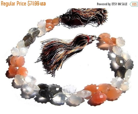 55% OFF SALE 8 Inches - AAA Multi Moonstone Designer Faceted and Carved Briolettes full 8 inch strand 43 pieces 10x8mm