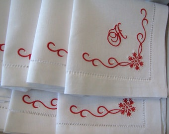 Set of 8 Monogrammed Luncheon Napkins Hemstitched Linen With Snowflake Detail