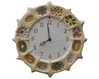 Seed Pods Ceramic Wall Clock- White and Cream (13 inches in diameter)