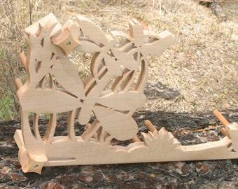 Card / Inkle weaving loom - figured maple Dragonflies!