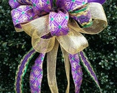 Christmas Bow, Mardi Gras Bow, Mesh Bow, Christmas Tree topper Bow, Mailbox Bow, Wreath Bow, Mardi Gras Decorations, Fat Tuesday Bow,