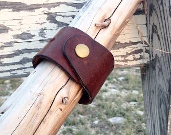 Wide Leather belt cuff bracelet
