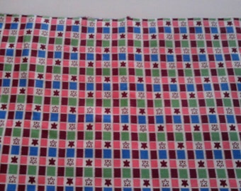 Vintage Cotton  Quilt Fabric  Pink , Cranberry , Blue  Green Flowers in Squares