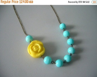 Yellow rose necklace with aqua glass beads