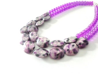 Purple statement necklace double strand