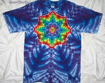 tye dye shirt, large tie dye mandala, tie dye shirt by grateful dan dyes, festival clothing, tie dye for men and women