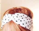 TopTwist - Turban Headband - Headband - Workout Headband - Polka Dot - Headwrap - Black and White