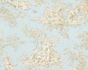 Blue Toile Valance - Baby Toile Horizon Fabric  - nursery valance, home decor, kids room, playroom, bathroom