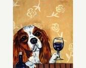 ON SALE King Charles Cavalier Spaniel at the Wine Bar Dog Art Print