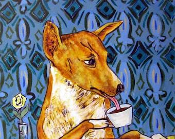 Basenji at the Coffee Shop cafe dog signed art print