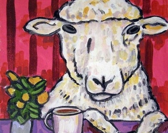 ON SALE Ram at the Coffee Shop Sheep Art Tile