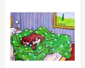 ON SALE Boxer Sleeping in a Bedroom Dog Art Print