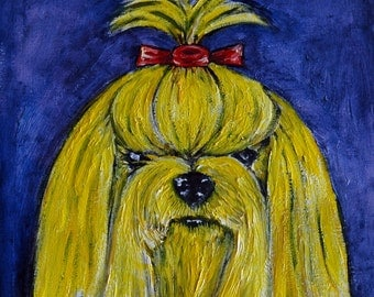 Yorkie yellow yorkshire terrier dog art artwork tile coaster gift