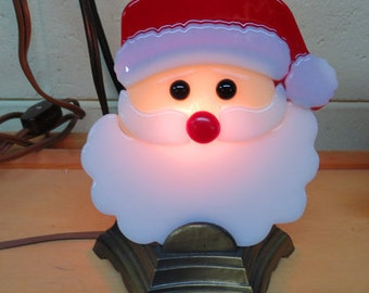 Santa Lites x2 - Santa Face Shelf Night Light - Fused Glass Table Lite